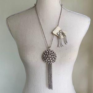 Isis Long Rhinestone Tassel Necklace & Earrings